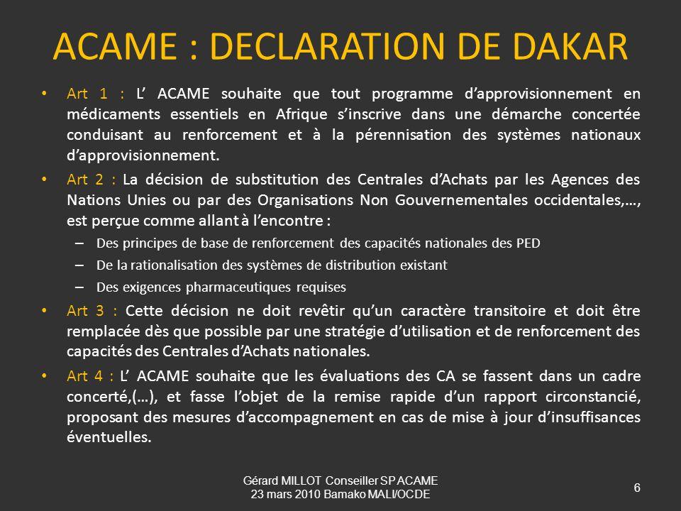 ACAME : DECLARATION DE DAKAR