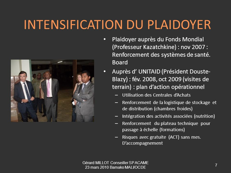 INTENSIFICATION DU PLAIDOYER