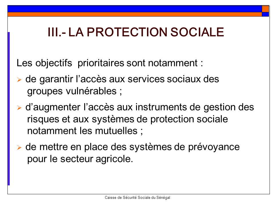 III.- LA PROTECTION SOCIALE
