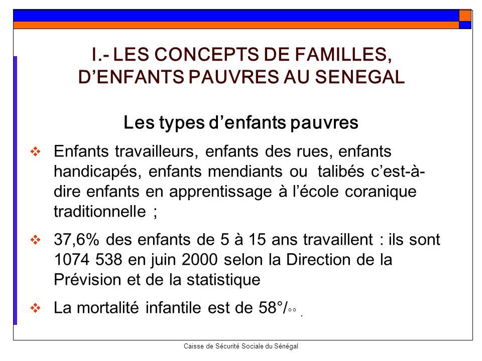 I.- LES CONCEPTS DE FAMILLES, D'ENFANTS PAUVRES AU SENEGAL