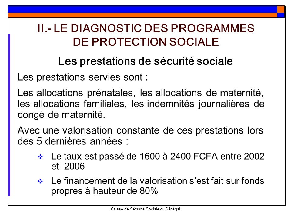 II.- LE DIAGNOSTIC DES PROGRAMMES DE PROTECTION SOCIALE