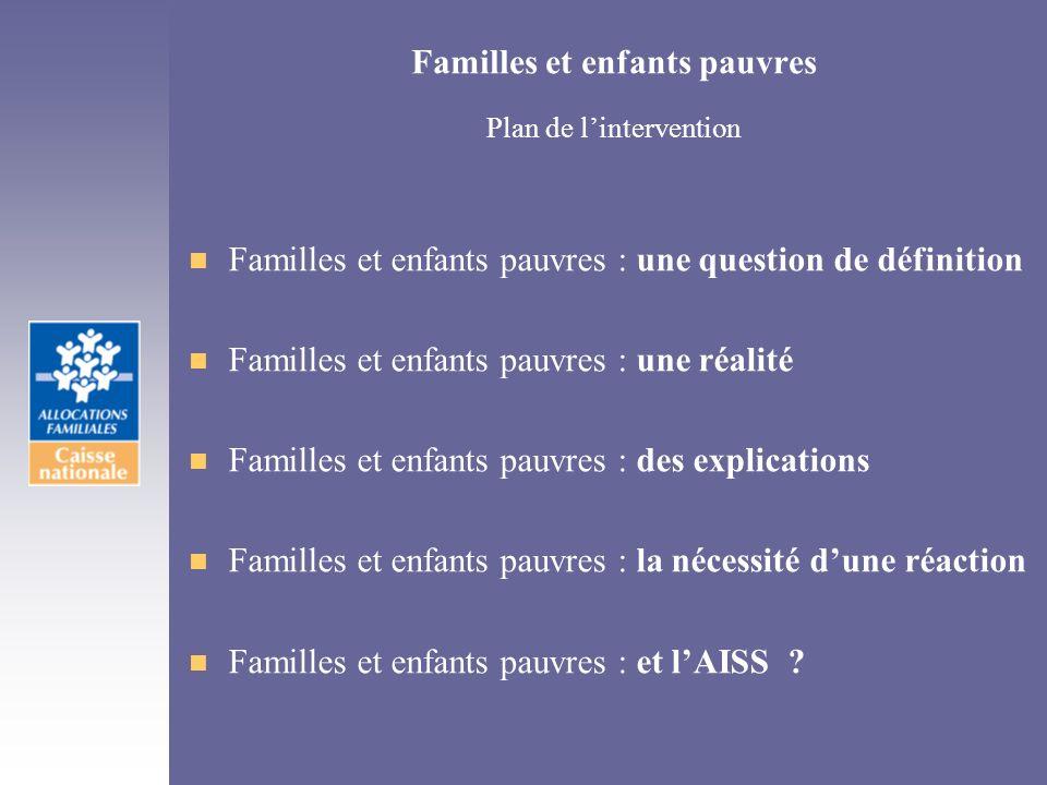 Familles et enfants pauvres Plan de l'intervention