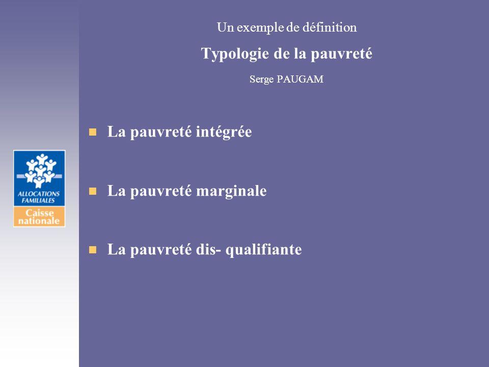 Un exemple de définition Typologie de la pauvreté Serge PAUGAM
