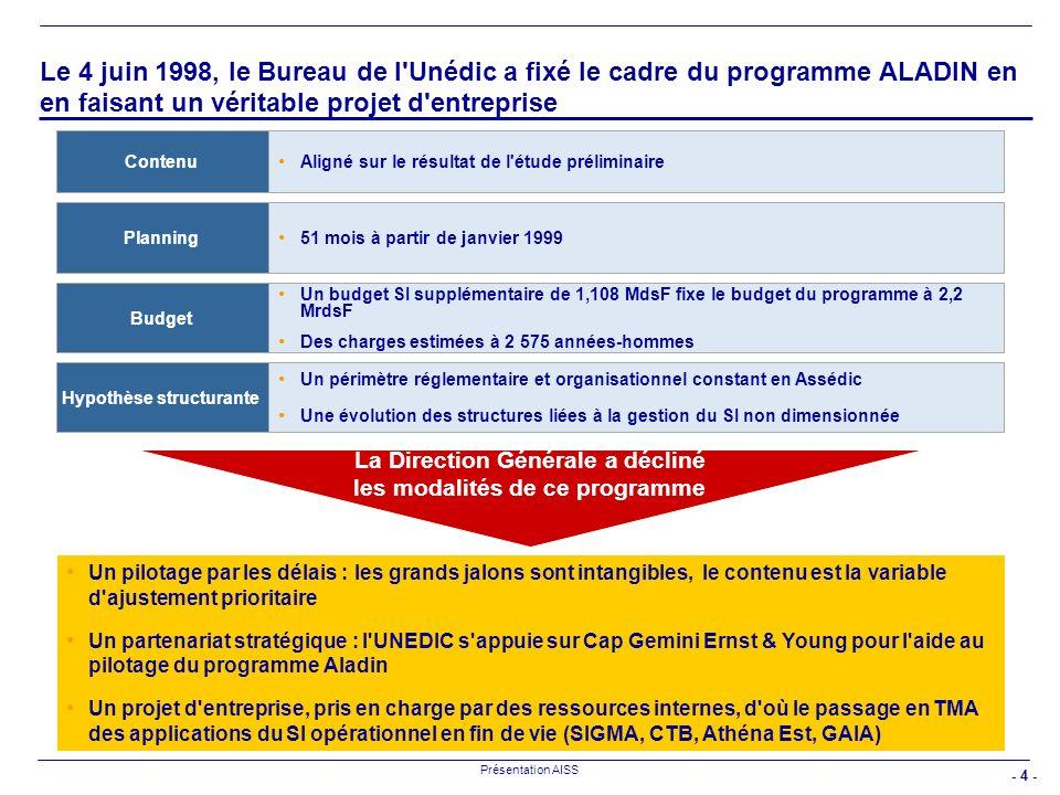 Le 4 juin 1998, le Bureau de l Unédic a fixé le cadre du programme ALADIN en en faisant un véritable projet d entreprise