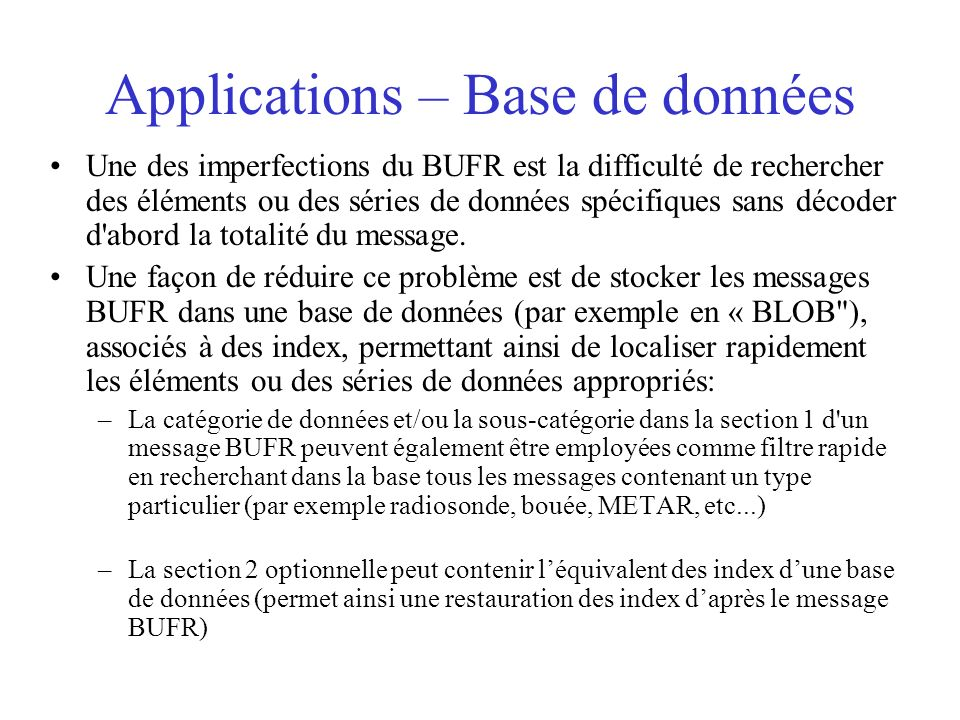 Applications – Base de données