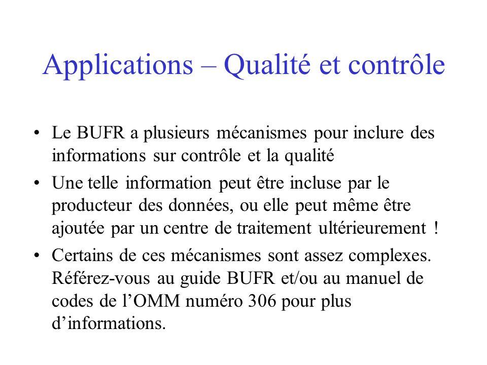 Applications – Qualité et contrôle