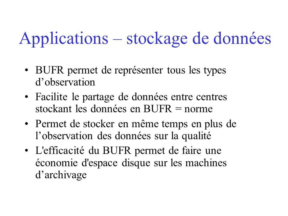 Applications – stockage de données