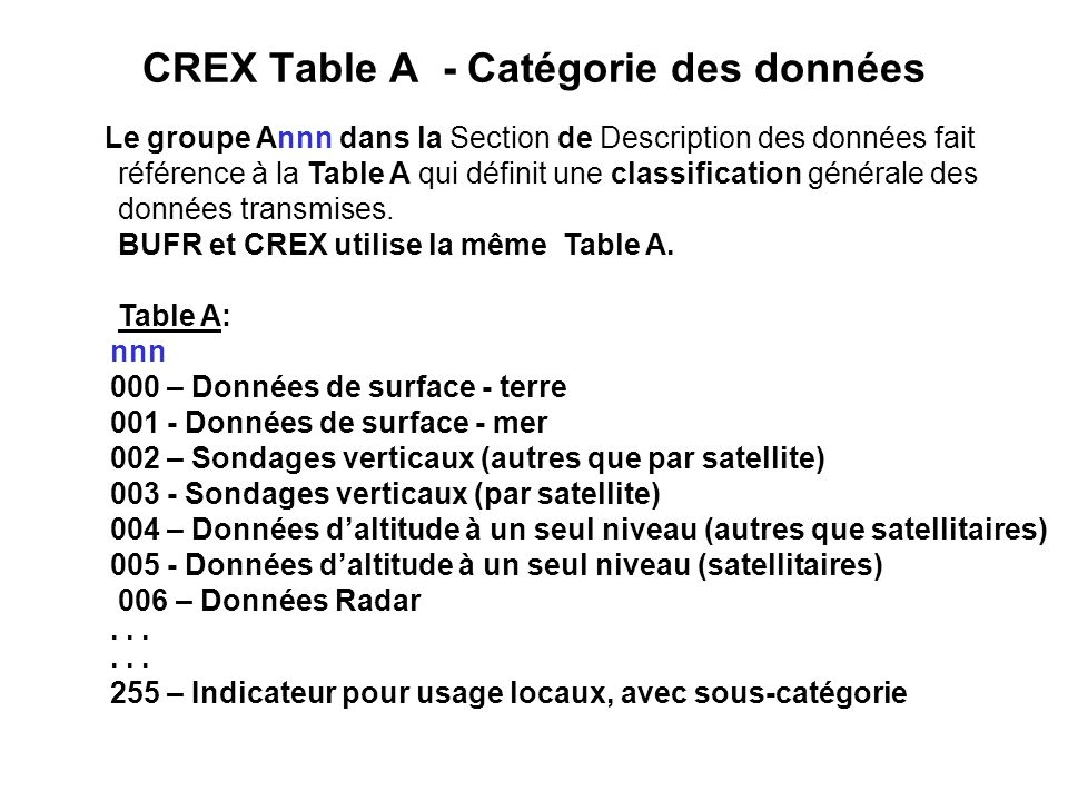 CREX Table A - Catégorie des données