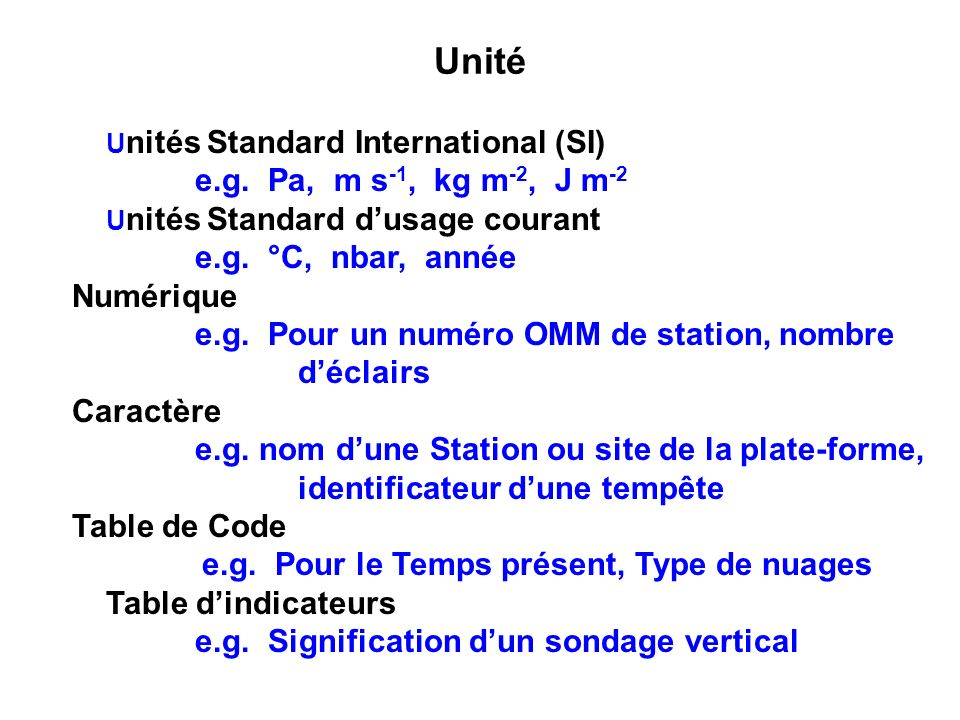 Unité e.g. Pa, m s-1, kg m-2, J m-2 Unités Standard d'usage courant