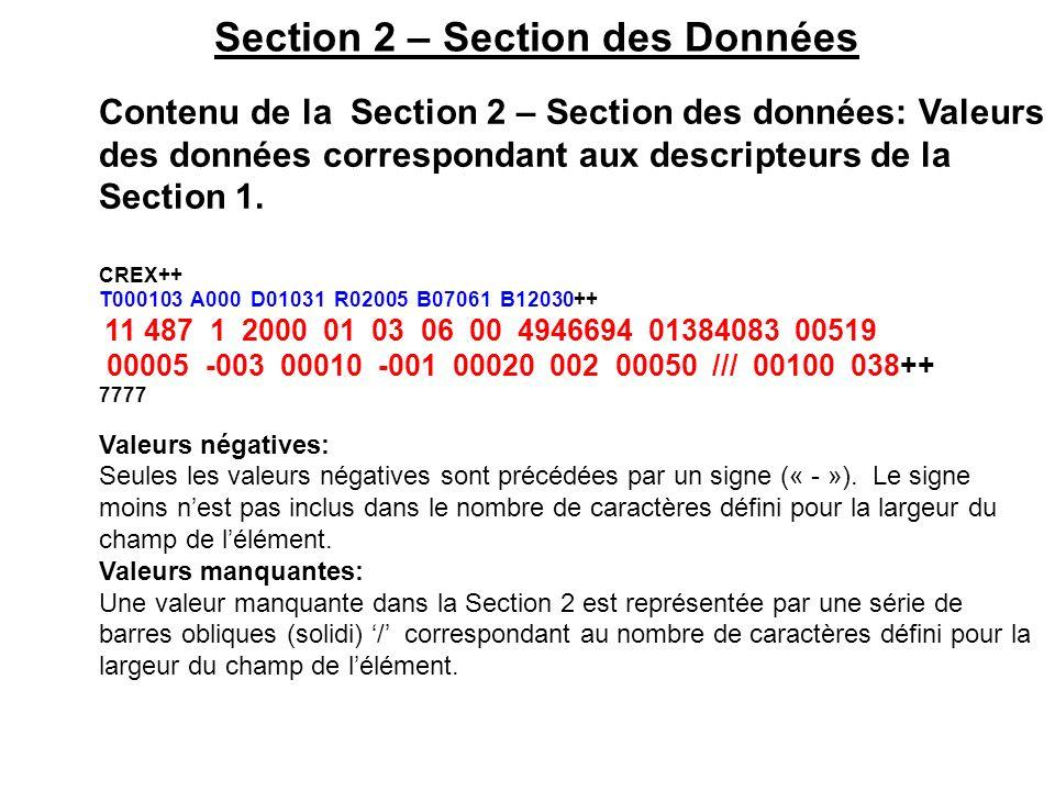 Section 2 – Section des Données