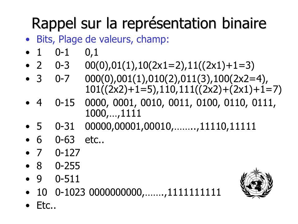 Rappel sur la représentation binaire