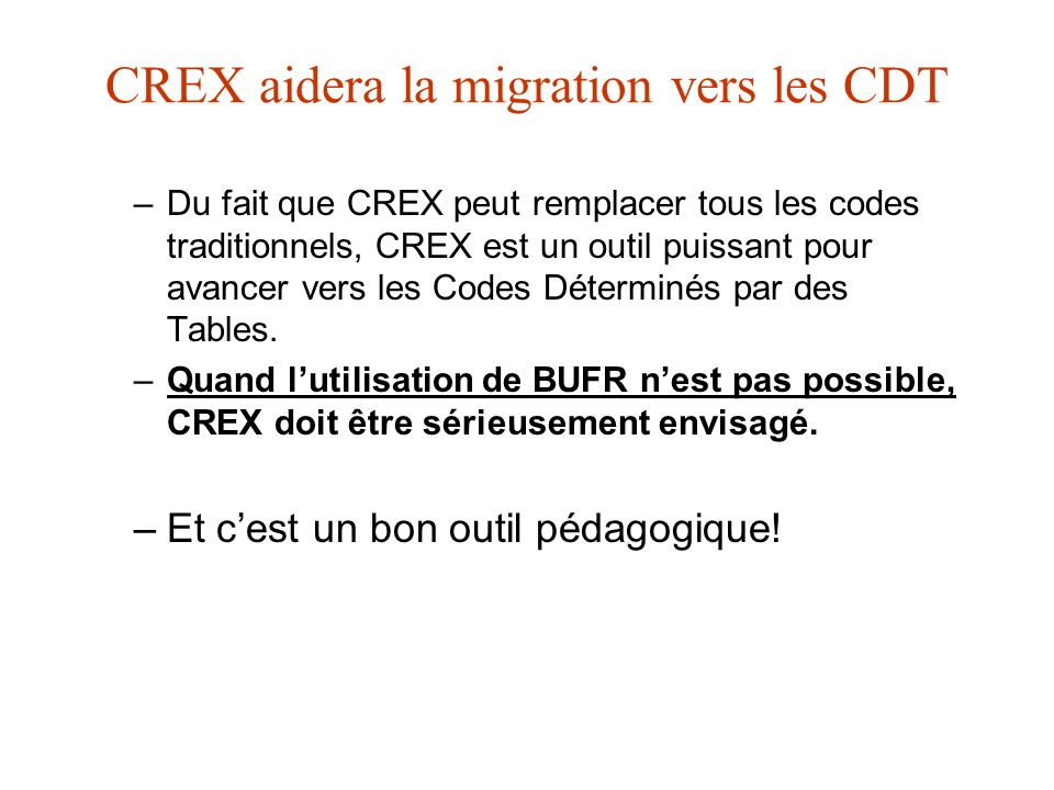 CREX aidera la migration vers les CDT