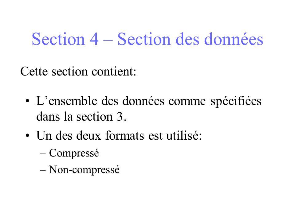 Section 4 – Section des données