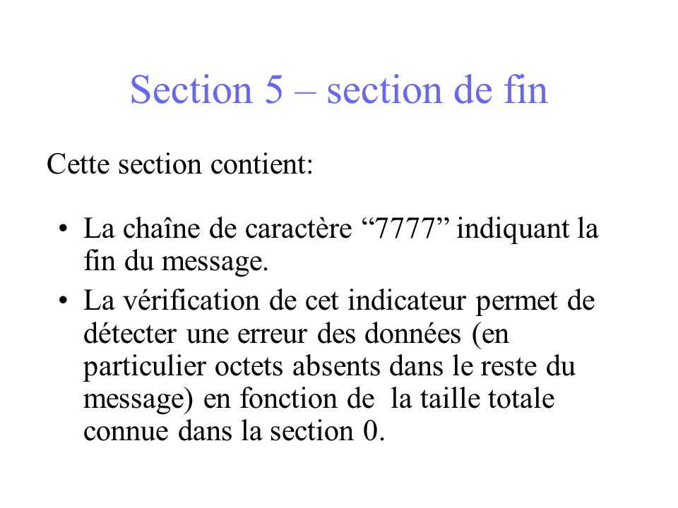 Section 5 – section de fin