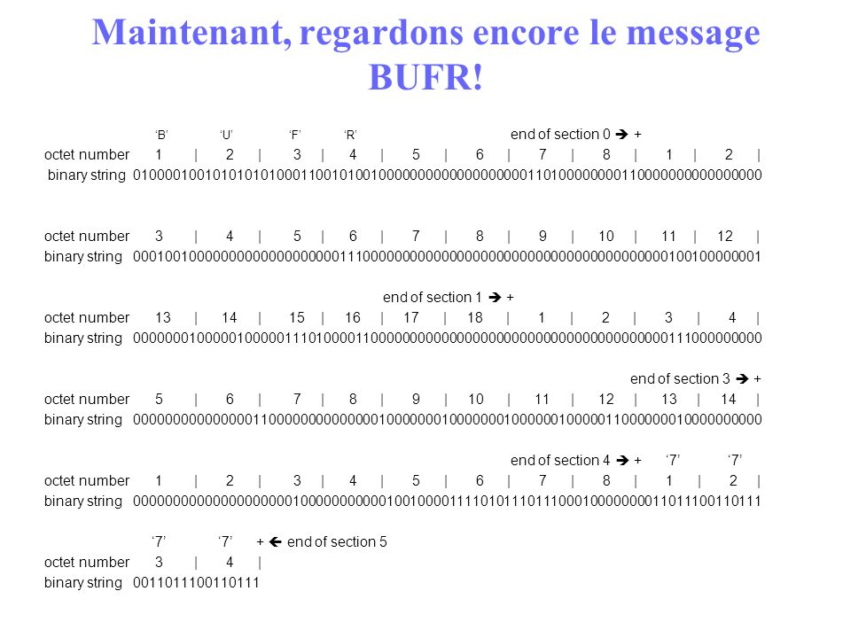 Maintenant, regardons encore le message BUFR!