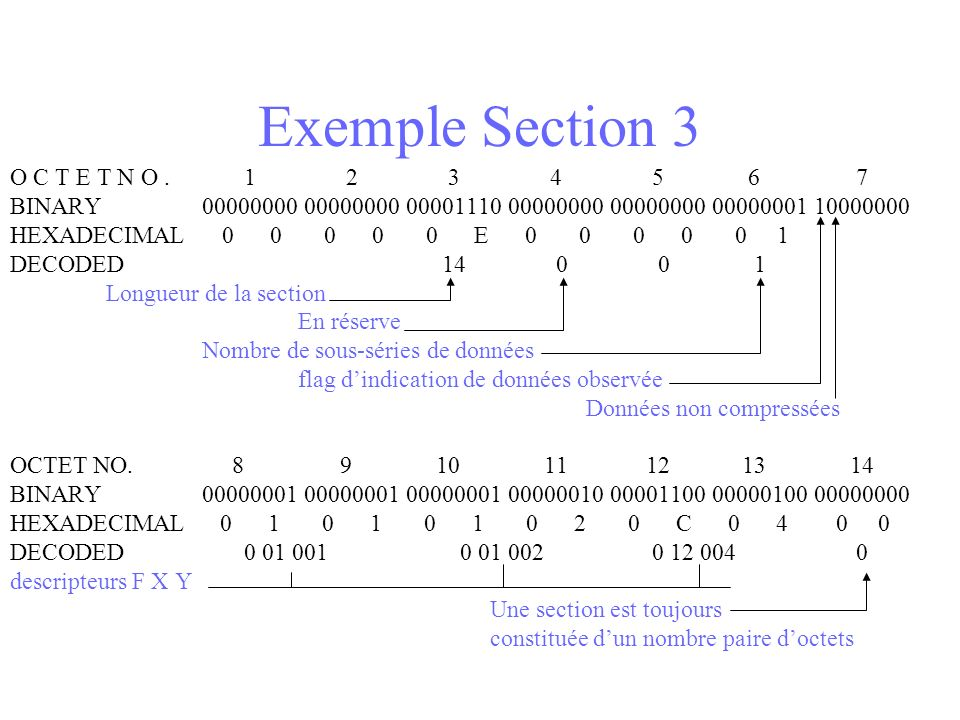 Exemple Section 3 O C T E T N O