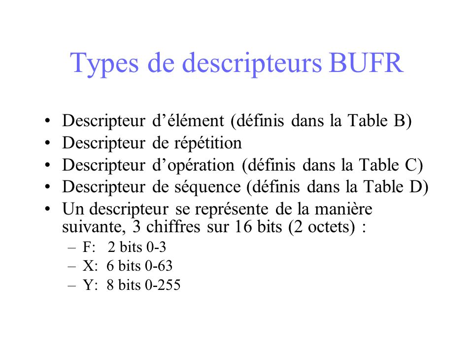 Types de descripteurs BUFR