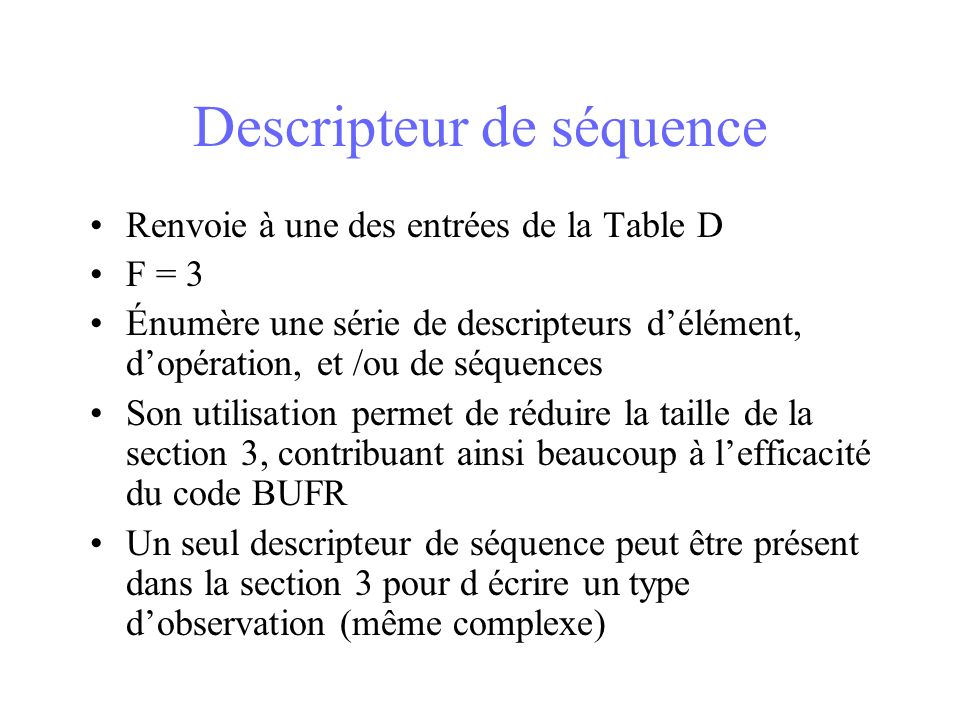 Descripteur de séquence