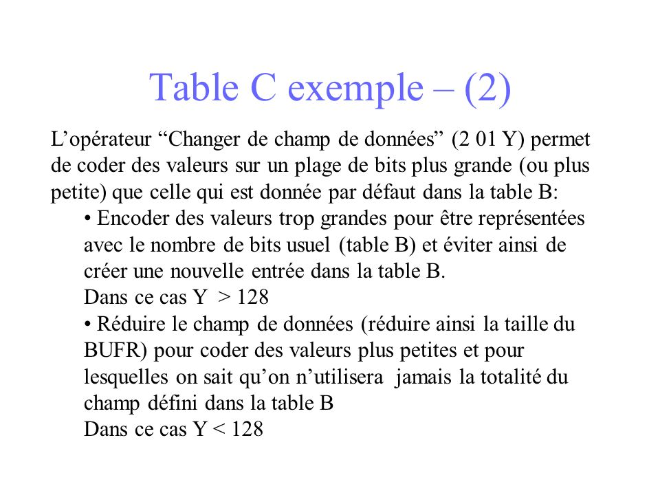 Table C exemple – (2)