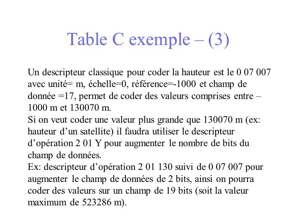 Table C exemple – (3)
