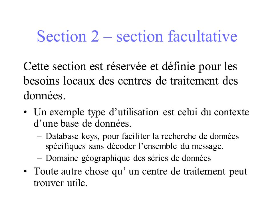 Section 2 – section facultative