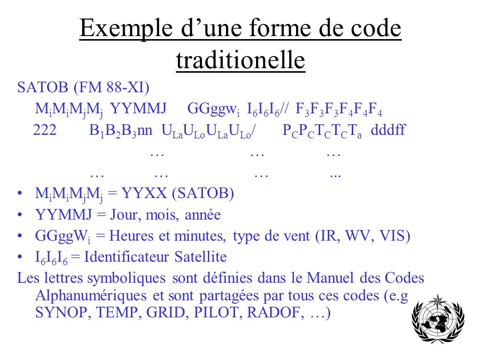 Exemple d'une forme de code traditionelle