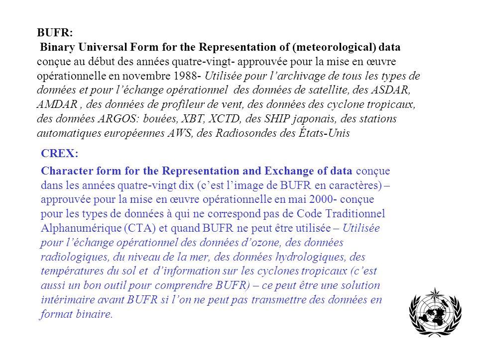BUFR: Binary Universal Form for the Representation of (meteorological) data conçue au début des années quatre-vingt- approuvée pour la mise en œuvre opérationnelle en novembre 1988- Utilisée pour l'archivage de tous les types de données et pour l'échange opérationnel des données de satellite, des ASDAR, AMDAR , des données de profileur de vent, des données des cyclone tropicaux, des données ARGOS: bouées, XBT, XCTD, des SHIP japonais, des stations automatiques européennes AWS, des Radiosondes des États-Unis