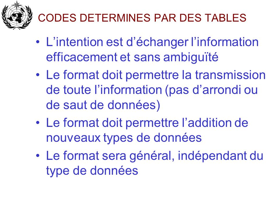 CODES DETERMINES PAR DES TABLES
