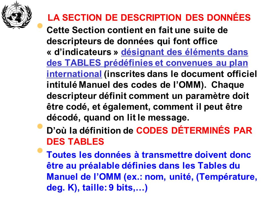 LA SECTION DE DESCRIPTION DES DONNÉES