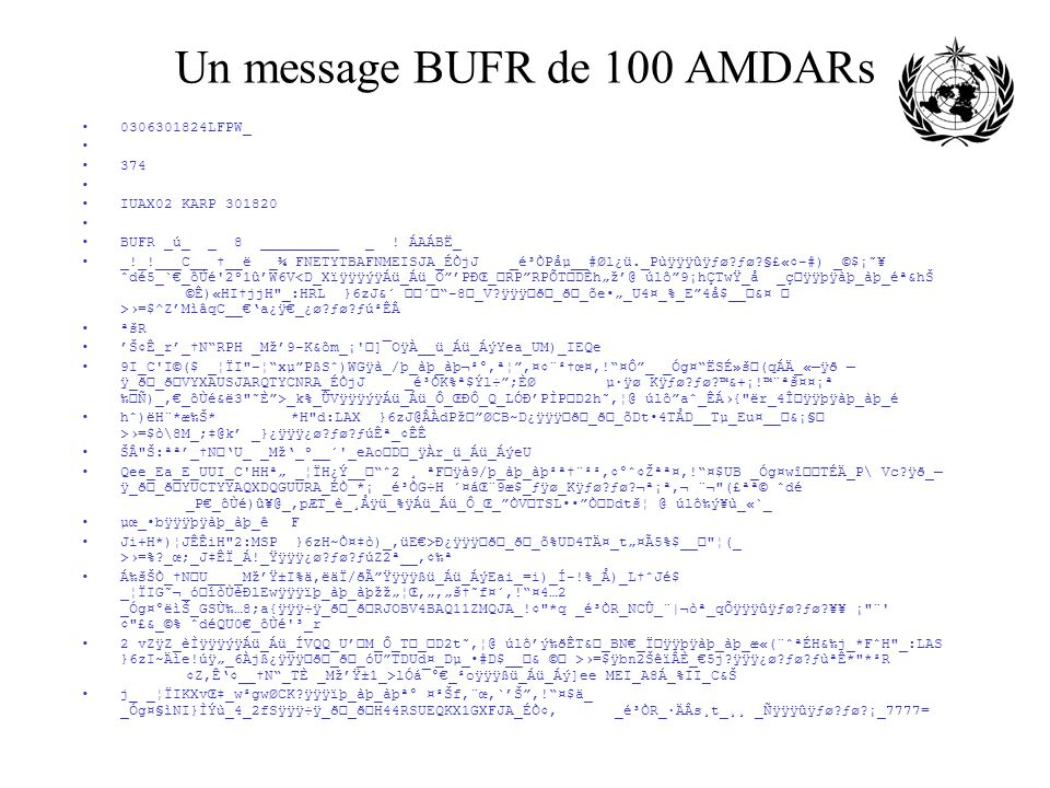 Un message BUFR de 100 AMDARs