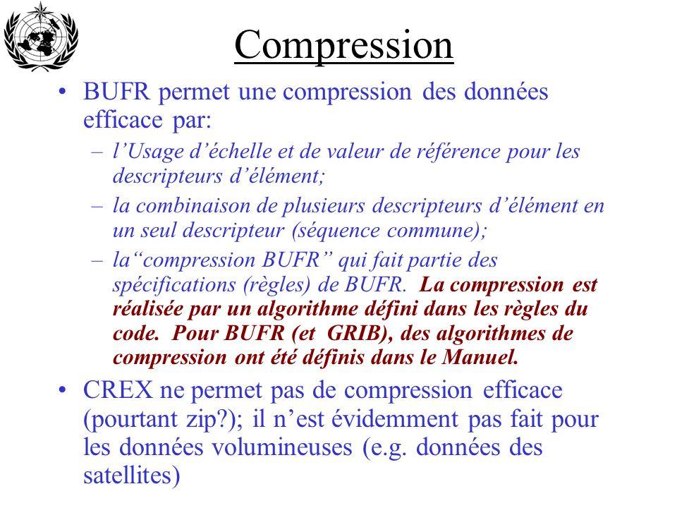 Compression BUFR permet une compression des données efficace par: