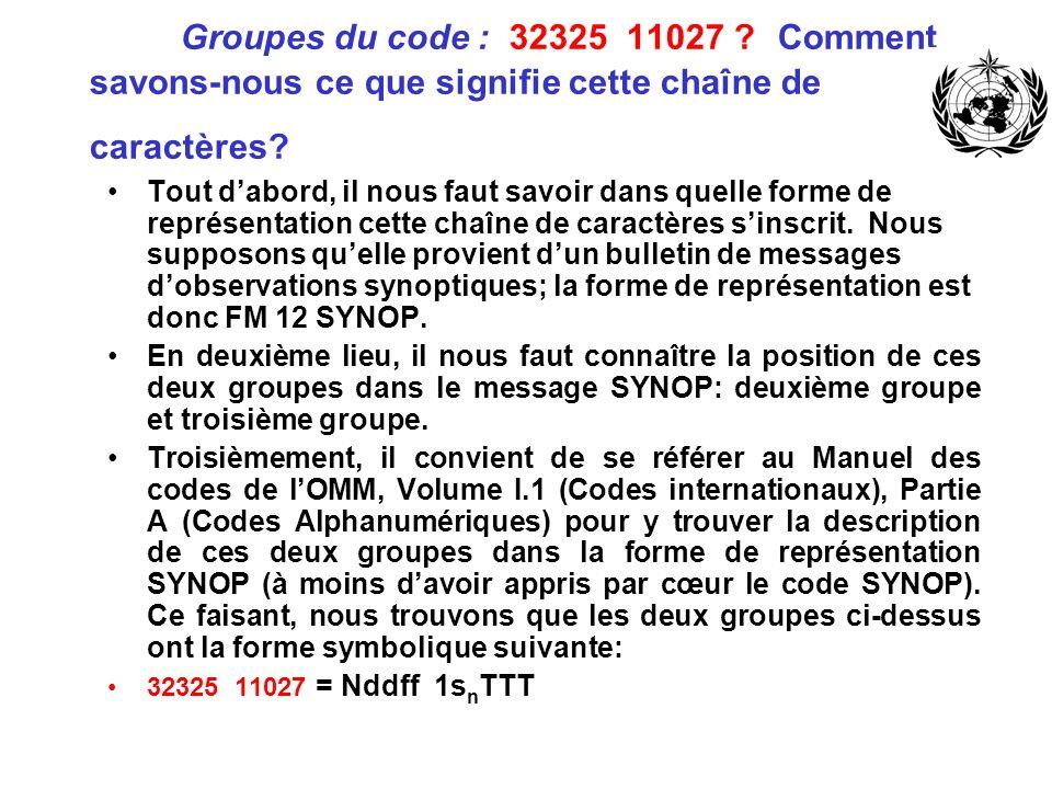 Groupes du code : 32325 11027 Comment savons-nous ce que signifie cette chaîne de caractères