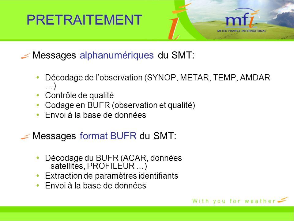 PRETRAITEMENT Messages alphanumériques du SMT: