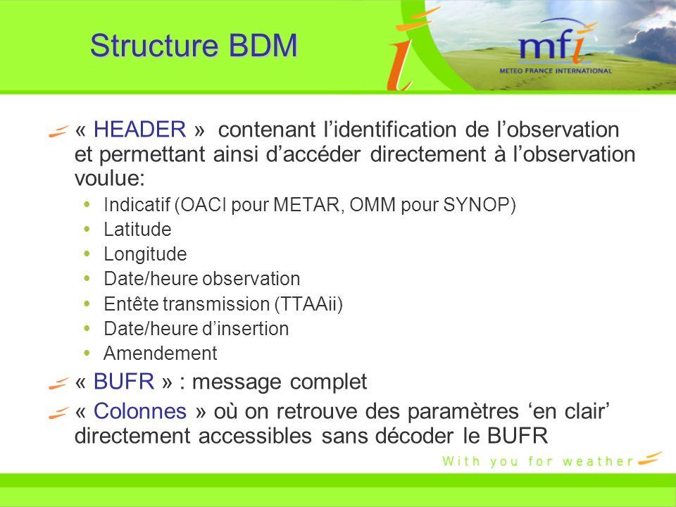 Structure BDM « HEADER » contenant l'identification de l'observation et permettant ainsi d'accéder directement à l'observation voulue: