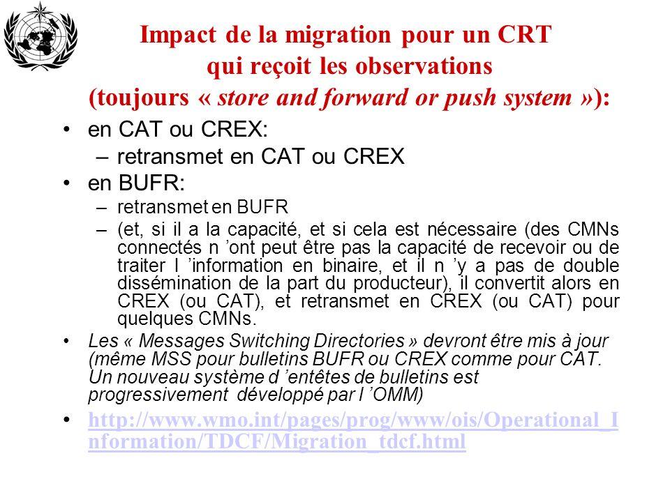Impact de la migration pour un CRT qui reçoit les observations (toujours « store and forward or push system »):