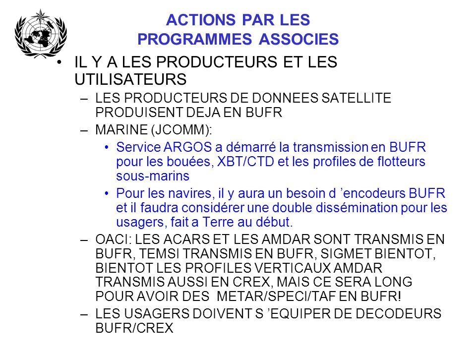 ACTIONS PAR LES PROGRAMMES ASSOCIES