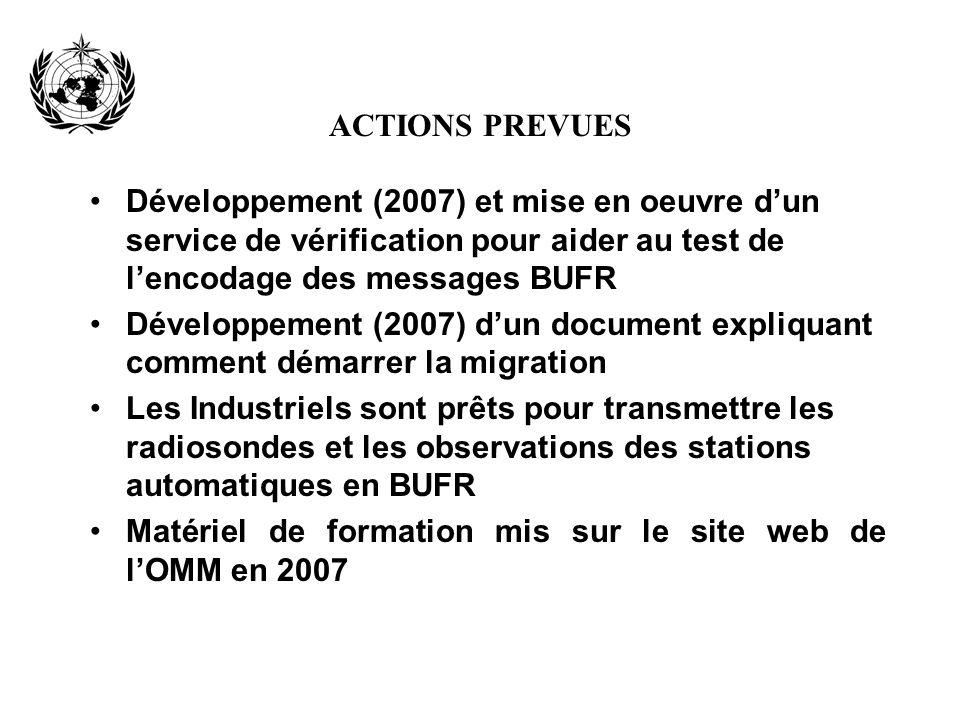 ACTIONS PREVUES Développement (2007) et mise en oeuvre d'un service de vérification pour aider au test de l'encodage des messages BUFR.