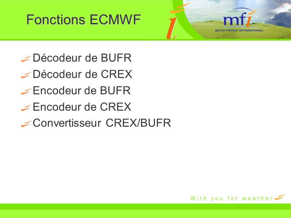 Fonctions ECMWF Décodeur de BUFR Décodeur de CREX Encodeur de BUFR