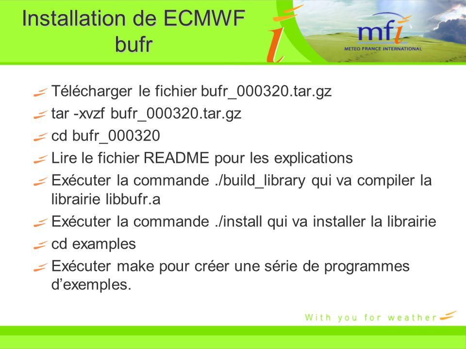 Installation de ECMWF bufr
