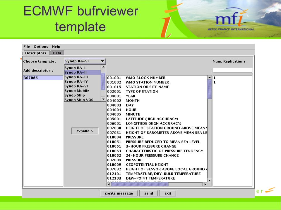 ECMWF bufrviewer template