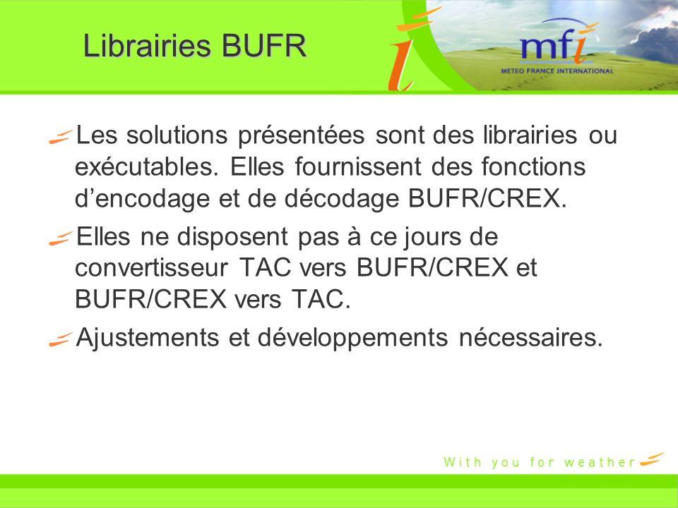 Librairies BUFR Les solutions présentées sont des librairies ou exécutables. Elles fournissent des fonctions d'encodage et de décodage BUFR/CREX.