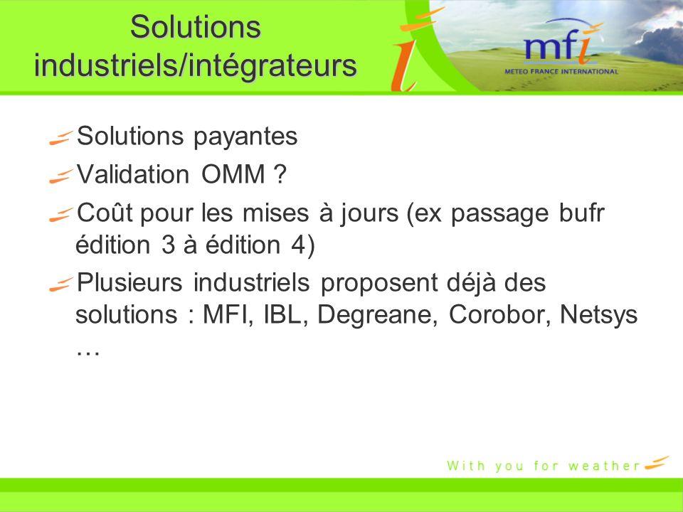 Solutions industriels/intégrateurs