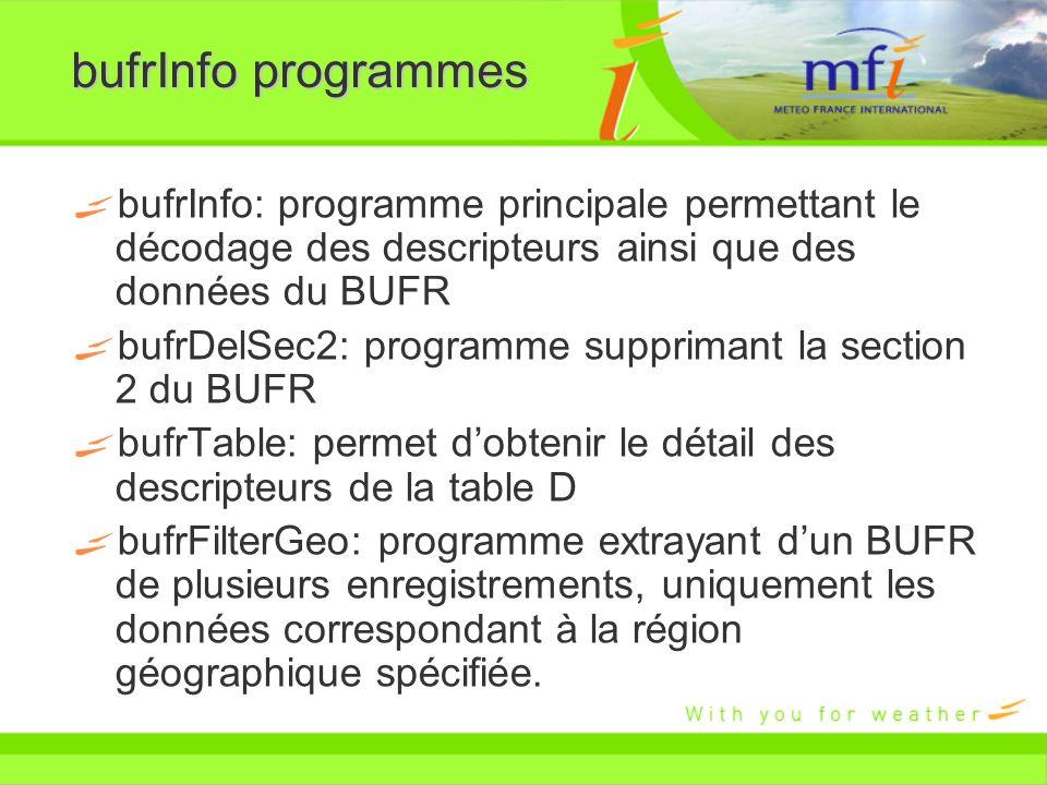 bufrInfo programmes bufrInfo: programme principale permettant le décodage des descripteurs ainsi que des données du BUFR.