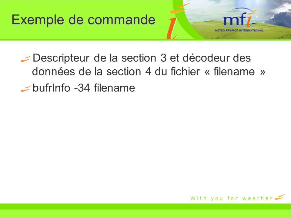 Exemple de commande Descripteur de la section 3 et décodeur des données de la section 4 du fichier « filename »