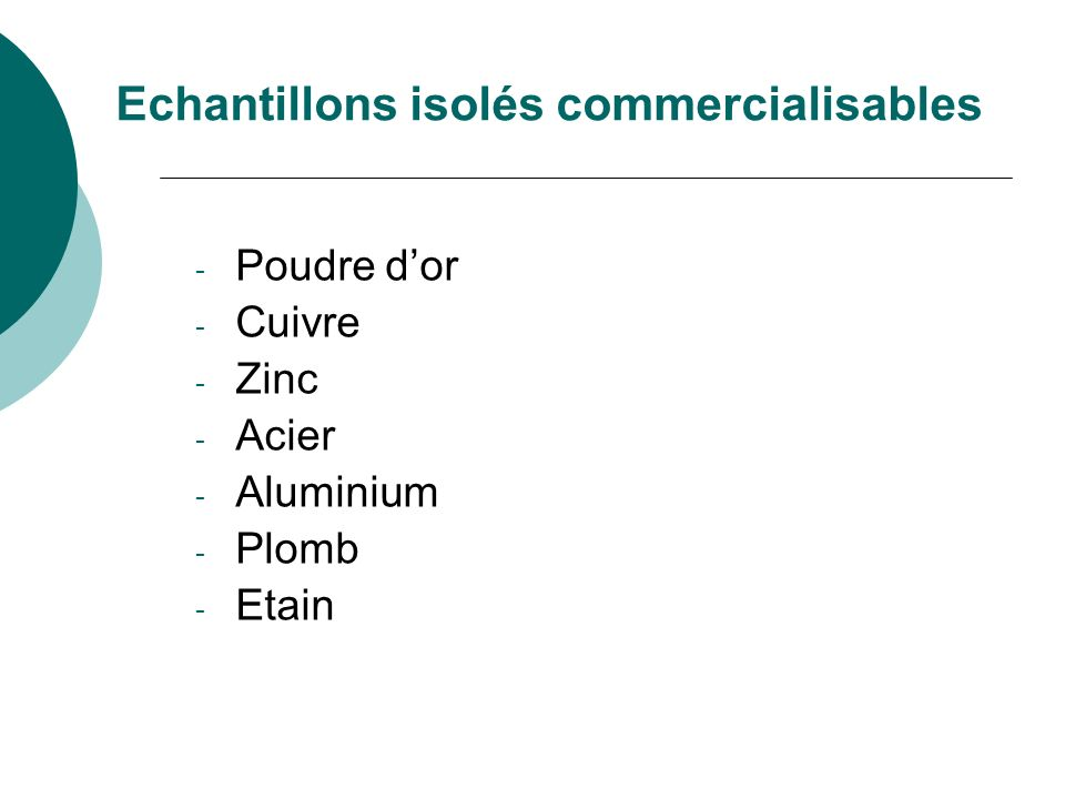 Echantillons isolés commercialisables