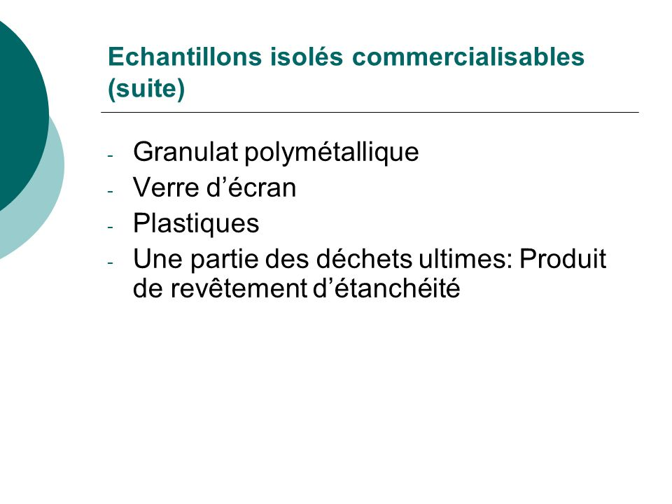 Echantillons isolés commercialisables (suite)