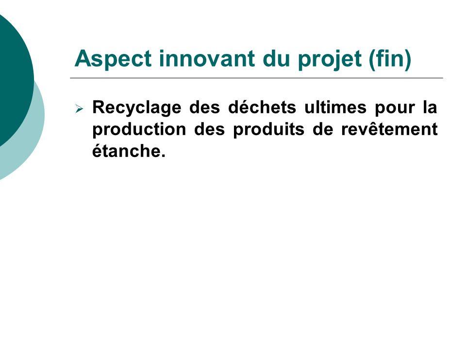 Aspect innovant du projet (fin)