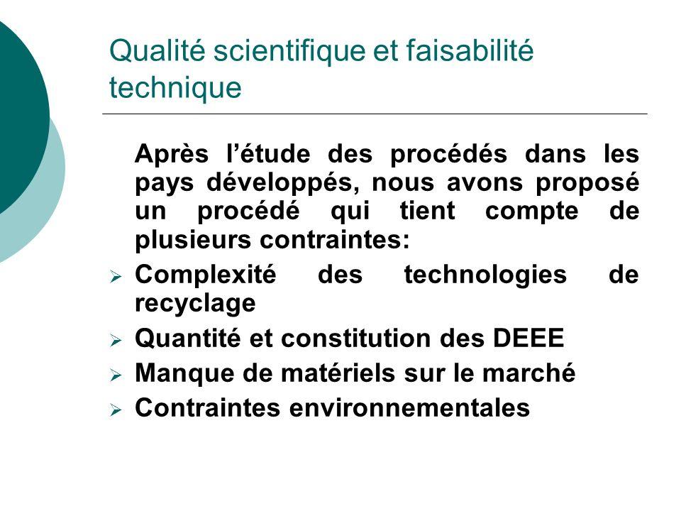 Qualité scientifique et faisabilité technique