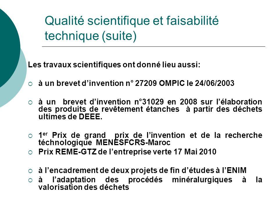 Qualité scientifique et faisabilité technique (suite)