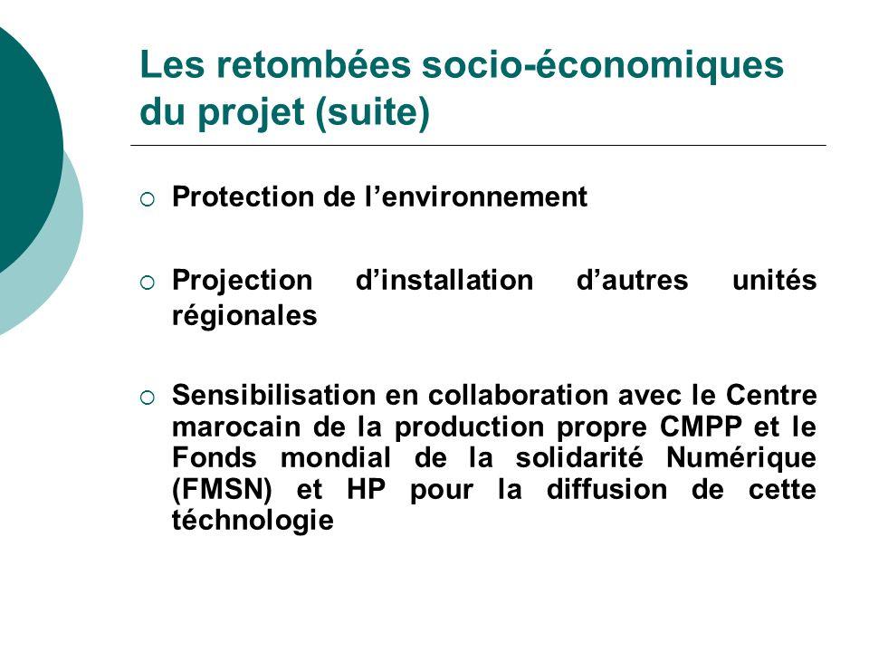 Les retombées socio-économiques du projet (suite)